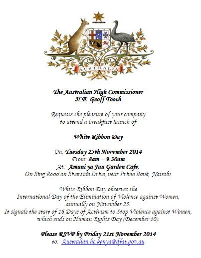 White Ribbon Day invite by The Australian High Commissioner